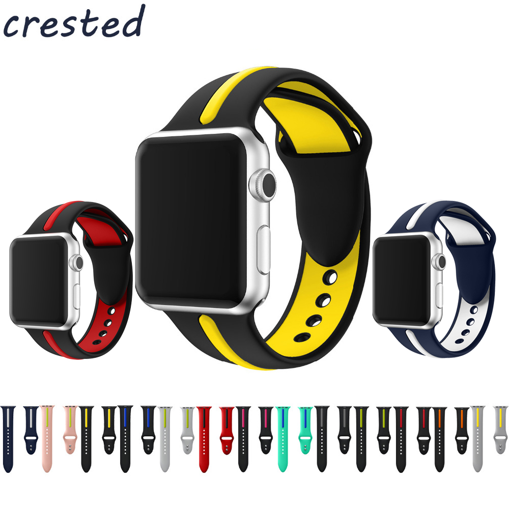 CRESTED sport silicone strap for apple watch band 42mm 38mm 3/2/1 bracelet Double color rubber wrist watch belt for iwatch crested sport band for apple watch 3 42mm 38mm strap for iwatch nike 3 2 1 wrist band bracelet silicone strap