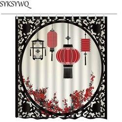 Chiński styl latarnia zasłona prysznicowa z tkaniny kwiat śliwy drukowane rideau de douche noir łazienka zasłony prysznicowe