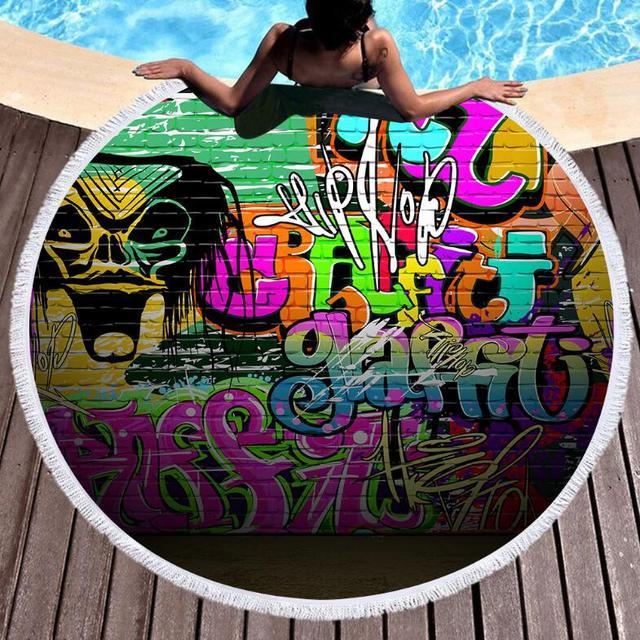 COLORFUL SKULL GRAFFITI ROUND BEACH TOWEL (2 VARIAN)
