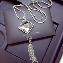 High quality square crystal pendant long tassels gold chain necklace women's fashion jewelry wholesale 2016 silver chain