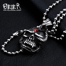 Beier Wholesale Stainless Steel Skull Necklace Pendant For Man Biker Punk Heavy Metal Jewelry WP8-057(China)