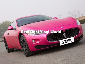 High Quality Rose Matte Metallic Pink Vinyl Wrap Folie Air Free For Car Wrapping image