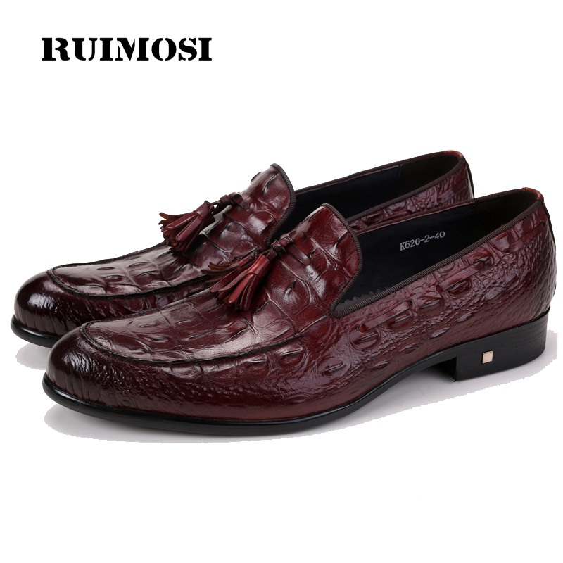 RUIMOSI Round Toe Slip on Crocodile Man Casual Shoes Genuine Leather Male Loafers Designer Brand Comfortable Men's Flats ZH72