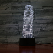 Leaning Tower of Pisa Usb 3d Led Night Light veilleuse Lamp Decoration Kids Baby Gift Torre di Table Bedside