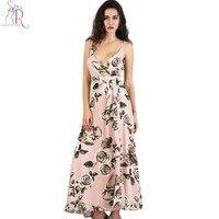 Strappy backless chiffon maxi dress rosa sexy scollo a v rosa stampa Estate spaccato Lungo Una Linea di Abiti 2017 New Fashion Beach Abbigliamento