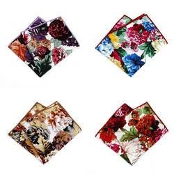 MF2346 Роскошные Винтаж Для мужчин хлопок платок обрезная Китай розы платок для Ascot Галстуки Галстук Свадебная вечеринка
