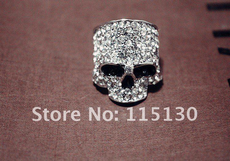 FishSheep Punk Hip-Hop Austria Kristal Skull Rings Untuk Pria Batu - Perhiasan fashion - Foto 2