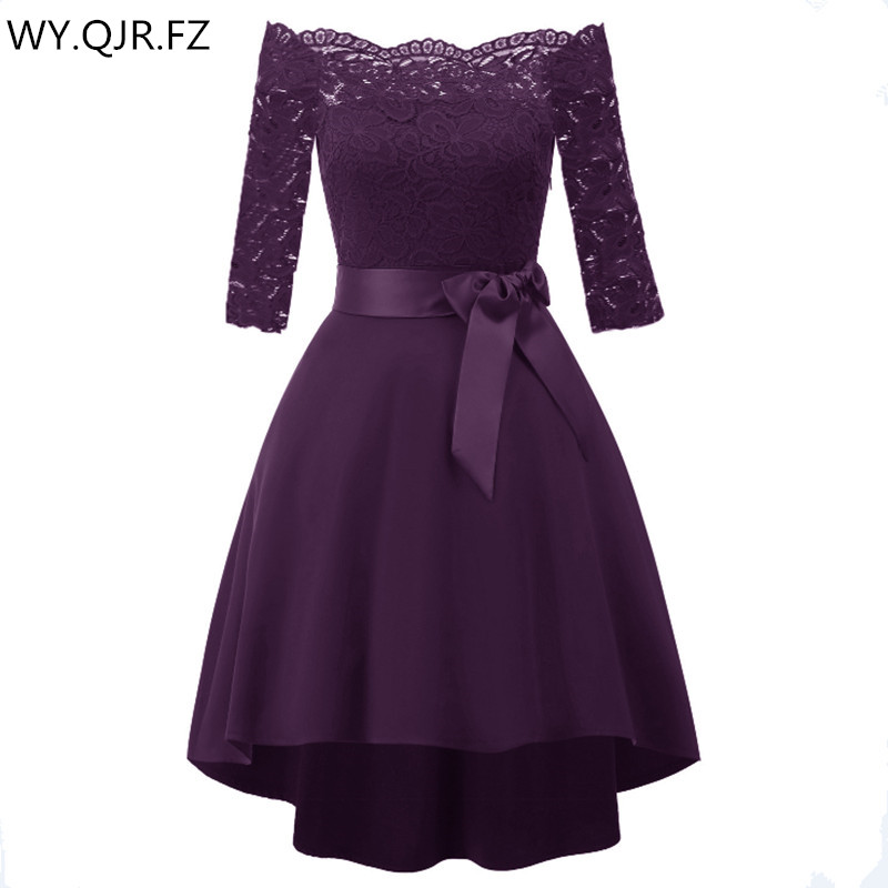 CD1613J#Lace Bow Boat Neck Short Bridesmaid Dresses Grape Purple Wedding Party Dress Gown Prom Wholesale Women Cheap Clothing