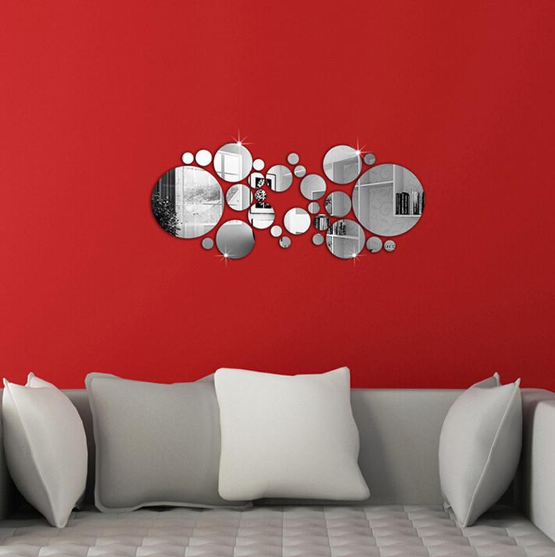unidades unids caliente venta de plata d espejo pegatinas de pared de acrlico
