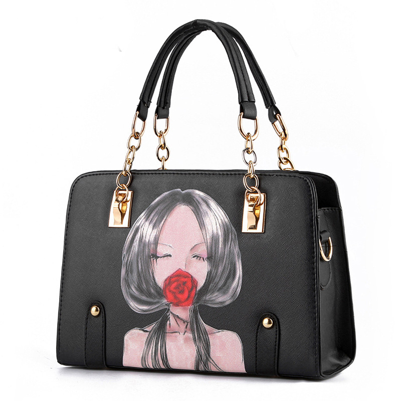d65eabdd8e85 2016 women leather handbags spring fashion handbag with Characters imges  Shoulder Bags Printing Chains ladies hand bags for girl-in Shoulder Bags  from ...