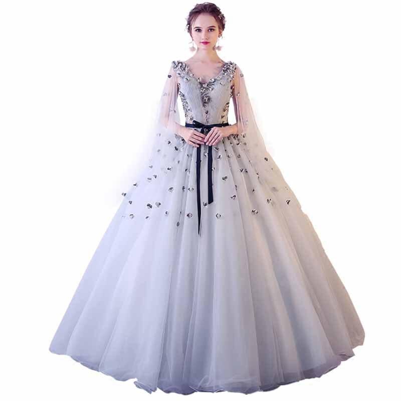 Luxe gris Floral soirée robes formelles gris col en V dos fente sangle cape manches tapis rouge robe pour dame grande taille 4XL 5XL