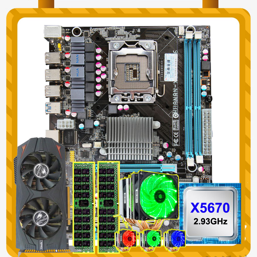 HUANAN ZHI Motherboard Bundle X58 LGA1366 Motherboard With CPU Xeon X5670 2.93GHz With Cooler RAM 2*8G RECC GTX760 2G Video Card