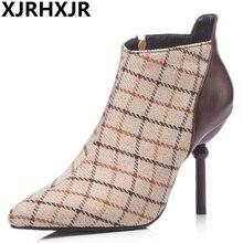 ac32afee985f61 XJRHXJR marque automne hiver nouvelles bottes courtes femmes Plaid bottes  chaussures Design de mode talons aiguilles