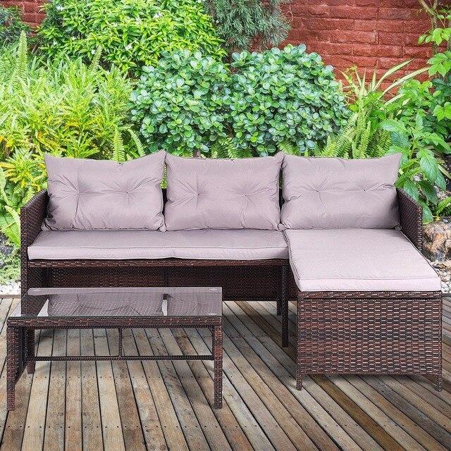 3 PCS Outdoor Chaise Lounge Sofa Set 1
