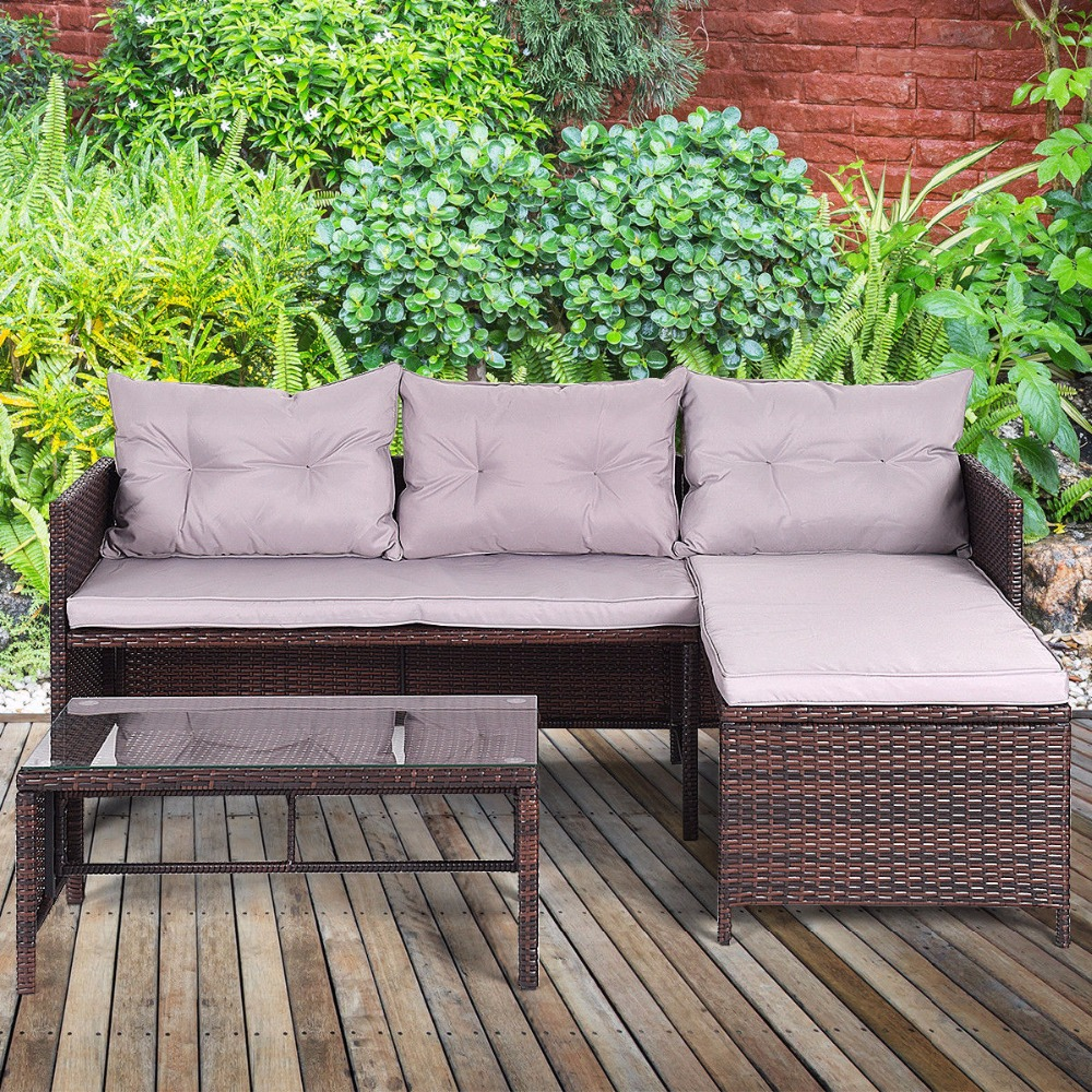 Giantex 3 PCS Outdoor Rattan Furniture Sofa Set Lounge Chaise Sofa ans Coffee Table Cushioned Patio Garden Furniture HW58535