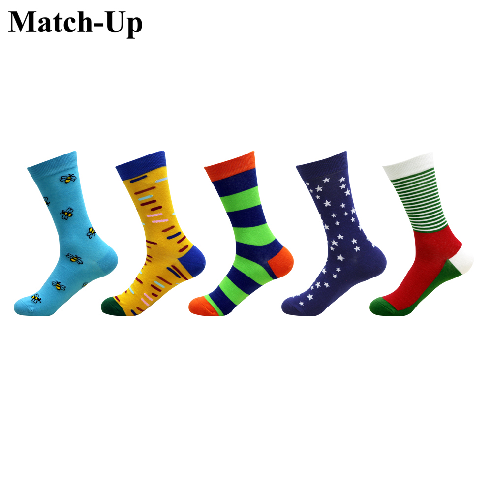 Match-up Mens Combed Cotton Trendy Socks Funny Casual Colorful Crew Skateboard Socks Novelty Gifts Us 7.5-12 5 Pairs/lot