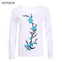 SEPTDEER Brand New T Koszula Kobiety Z Długim Rękawem Plus Size Hafty Kwiat Topy Koszulkę Femme LP53182 S-6XL