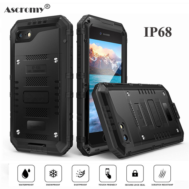 840c2a5e064 Ascromy IP68 Waterproof Case for iPhone 6 6s Plus Aluminum Case with  Tempered Glass Screen Protector