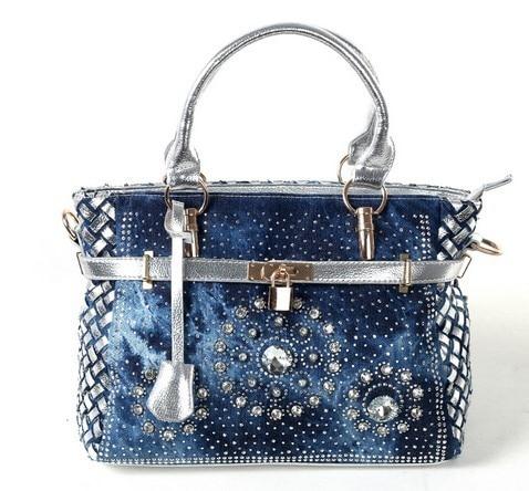 Yaz 2017 Moda qadınları çanta iri oxford çiyin çantaları patchwork jean stil və büllur bəzək mavi çanta