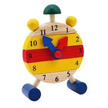 Время обучения образования мини часы-пазл Монтессори Деревянные Пазлы игрушки для детей цифровые развивающие игры