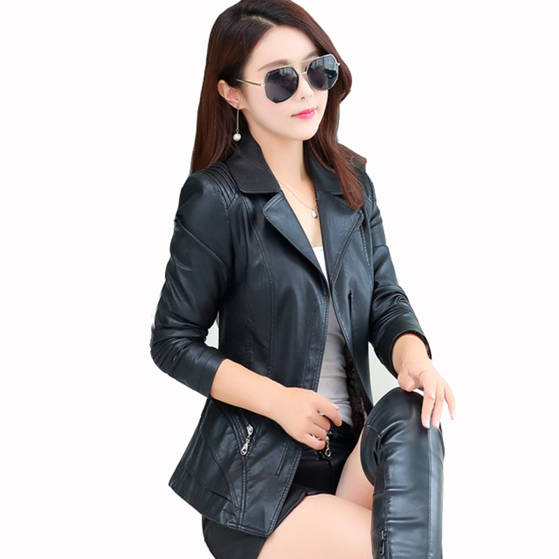 2018 autumn winter sheepskin   leather   clothing female   leather   jacket short outerwear motorcycle design Moto jaqueta couro QH1057