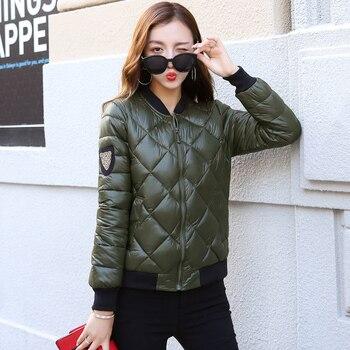 HETOBETO Autumn Winter New Baseball Cotton Padded Jacket Fashion Short Slim Stand Collar Epaulet Casual Parkas Coat Woman