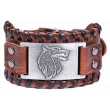 My Shape Vintage Viking Irish Wolf Bracelet Genuine Leather Wrap Strap Bracelets Bangles Totem Jewelry For Gift