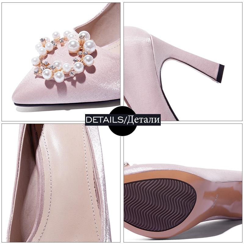 Kiss Satin 2019 Scarpe da alti sposa Crystal Tacchi Black Donna New punta a basso rosso champagne Primavera Tacco Pumps Donna Donna Pearl Wet scarpe 44USrA