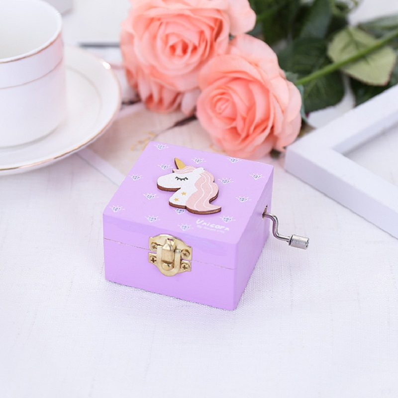 Macaron Colors Unicorn Wooden Music Box Hand Cranked Girls Jewelry Musical Box Special Souvenir Gift Box Gift for Girlfriend in Music Boxes from Home Garden