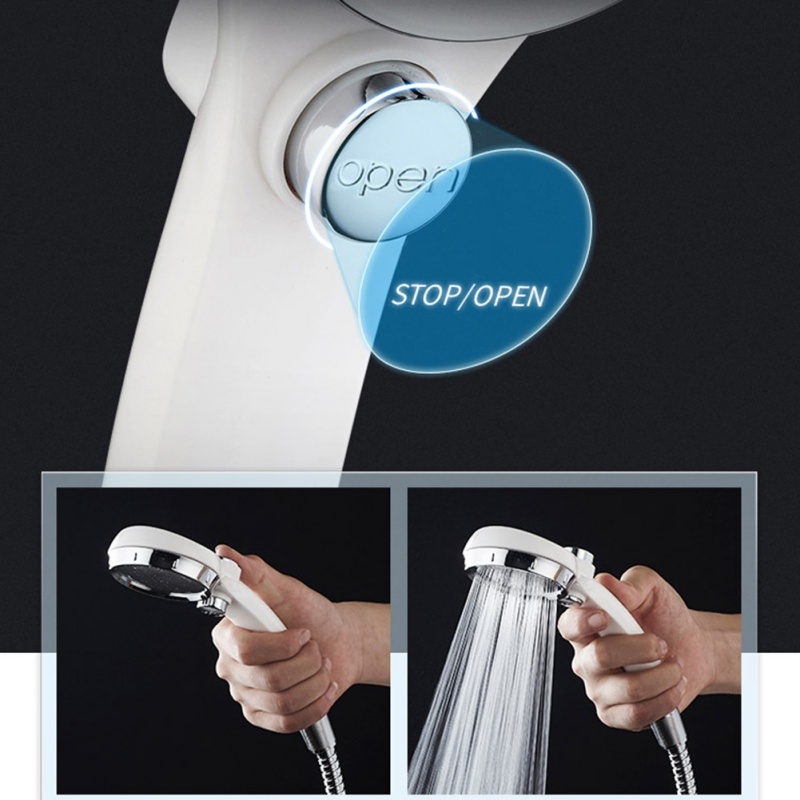 Handheld Shower Head High Pressure With ON/OFF Pause Switch Water Saving  Japanese Single Shower Head