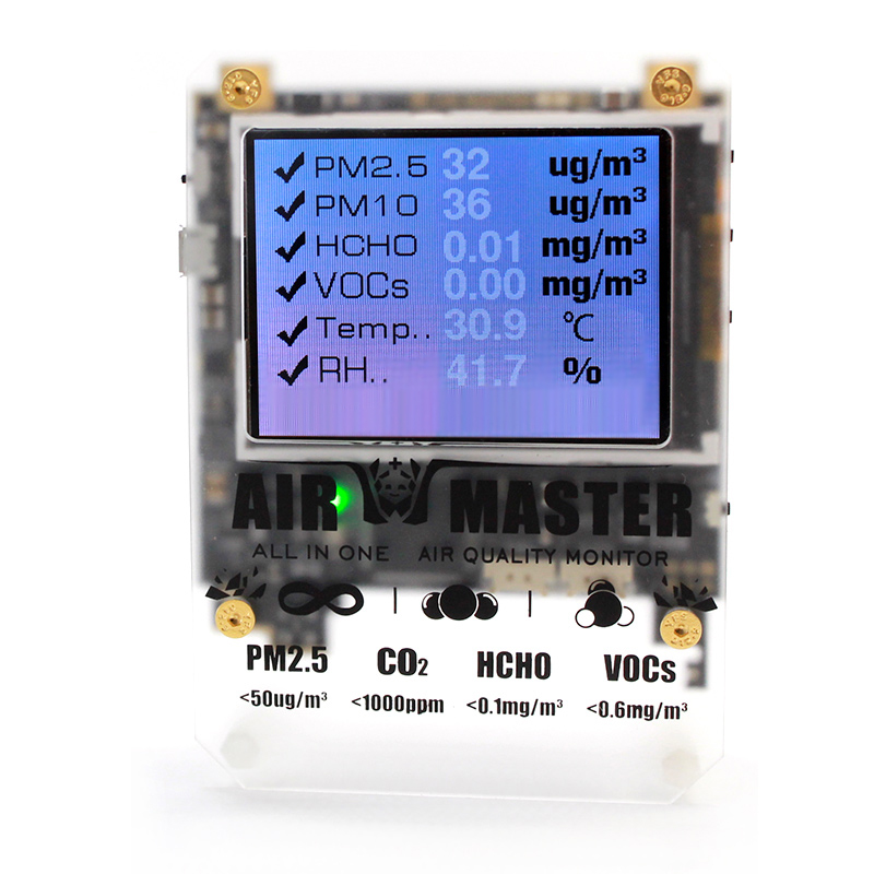 AM6 6 In One Air Quality Detector Laser PM2.5 VOC DART Formaldehyde Sensor E detector with Open Source Serial Command