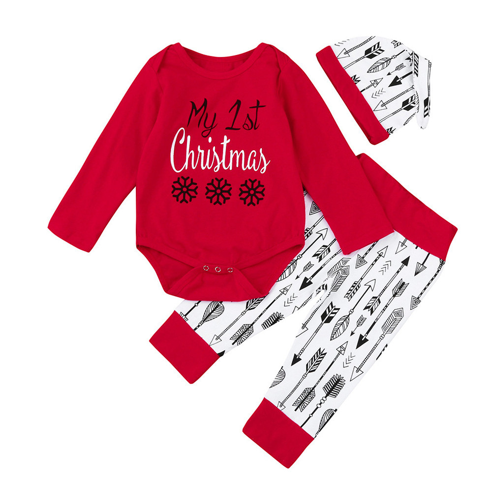 MUQGEW 1St Birthday Newborn Clothes MY 1ST Christmas Baby Girl Outfits Clothes 3Pcs Letter Romper+arrow Pants+Hat Set Z06