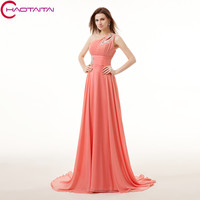 New Graceful Pink Long Evening Dress 2017 A Line One Shoulder Draped Sequins Beaded Appliques Chiffon