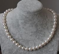 24 9 10MM NATURAL freshwater WHITE PEARL NECKLACE 925silver