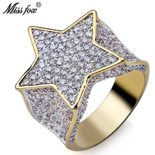 HOT!!! Hip Hop Pentagram 18k Gold Mens Rings Star Fashion Casual Personalized Dainty Ring Full Cubic Zirconia Luxury Jewelry