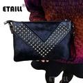 V Shape Studded Horsehair Women Luxury Brand Envelope Rivet Clutch Bag Soft Genuine Real Leather Hand Bag Small Cross Body Bag