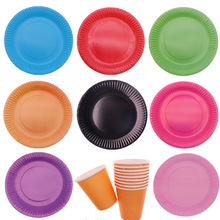 Colorful Plate Cup 10pcs/lot Disposable tableware birthday party decorations kids for baby shower home supplies