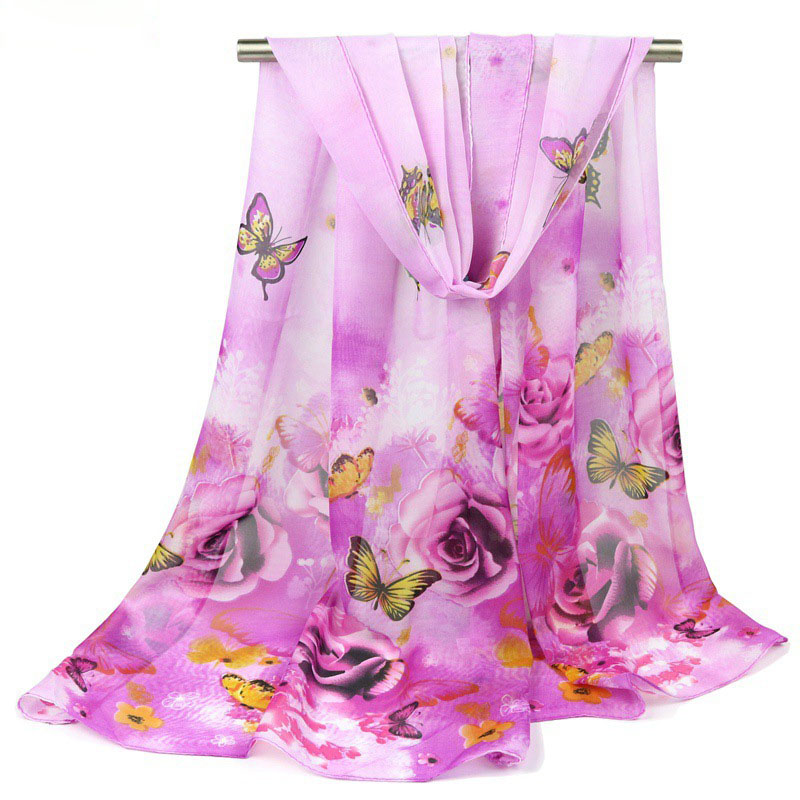 50*155cm Long Chiffon faux Silk Scarf vintage wrap Women Designer butterfly flower Printed Scarves Sunscreen Ladies Foulard