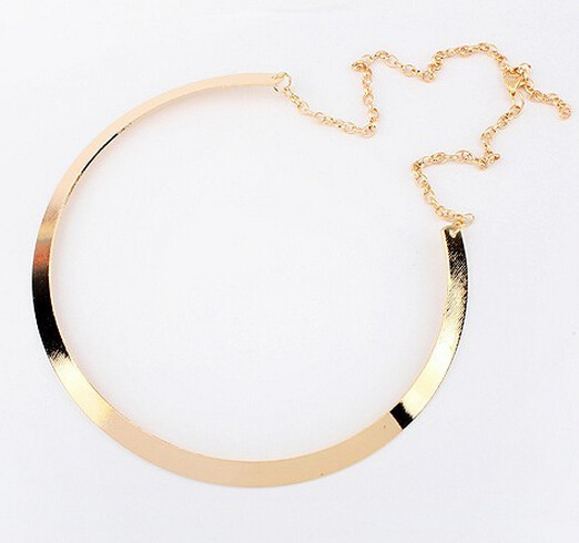 Brief metal golden chokers necklaces punk style all match office lady summer fashion jewelry accessories Big Brand necklaces