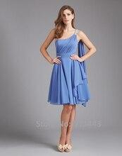 Exquisite Blue One-shoulder Sleeveless A-linie knielangen Falten Perlen Chiffon Cocktailkleid