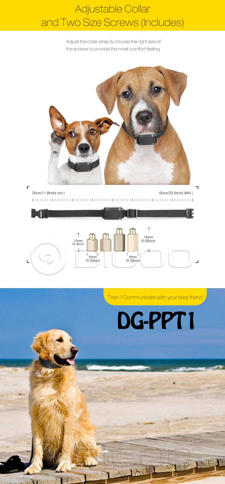 Digoo DG-PPT1 Rechargeable Trainer Waterproof Stop Barking Collars Remote Dog Training Collar