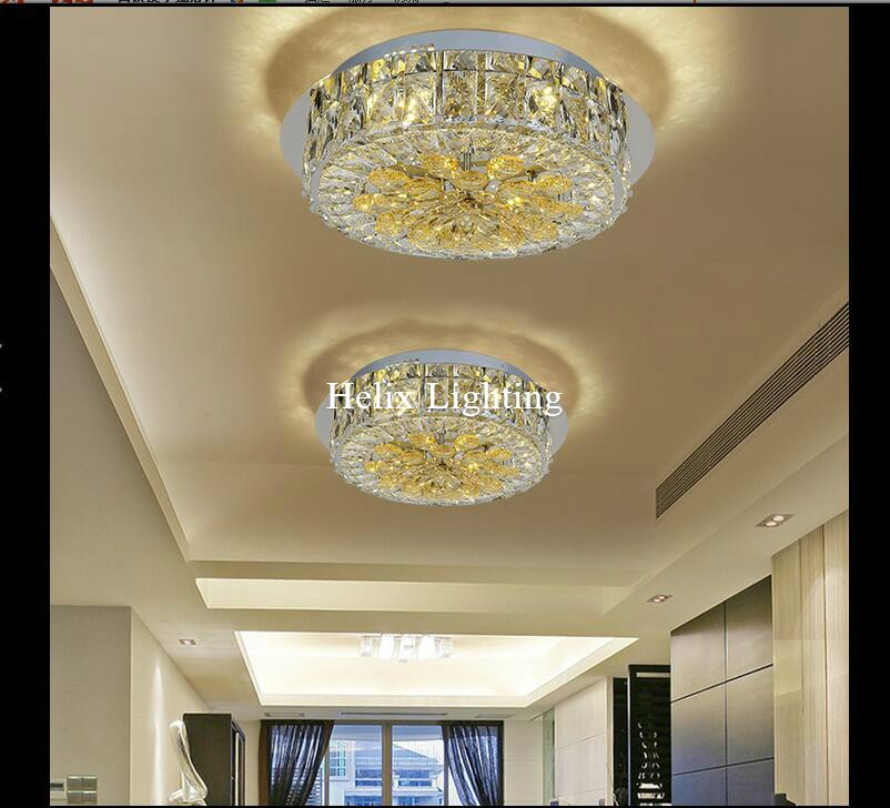 Newly D380mm D27W LED Ceiling Lights Ceiling Lamp Flush Mount Crystal Light AC 90-260V Surface Mounted Hallway Ceiling Lamp