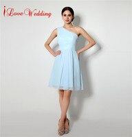 Vào Cổ Phiếu Ngắn voan Bridesmaid Dresses New A line Một Vai Phụ Nữ Formal Prom Gowns Ánh Sáng Màu Xanh Bridal Paty Dresses