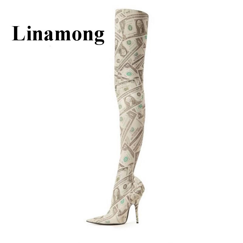 Fashion Newest Sexy Pointed Toe Thin High Heel Over-The-Knee Personalized Upper Spring And Autumn Women Boots High Quality new 2018 spring wine red pink velvet upper women long boots over the knee sexy pointed toe high thin heel boots shoes lady