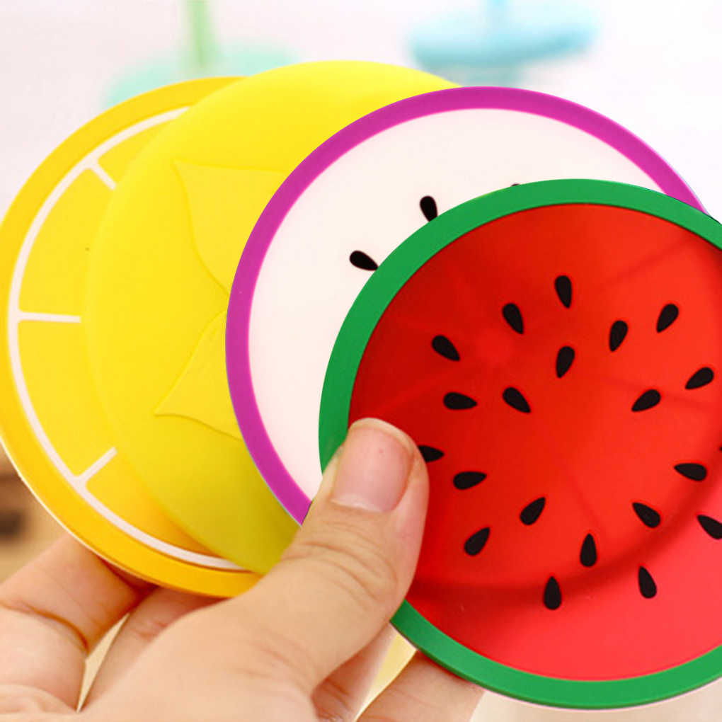 Hot Coaster Fruit Shape Silicone Cup Pad Slip Insulation Pad Cup Mat Pad Hot Drink Holder