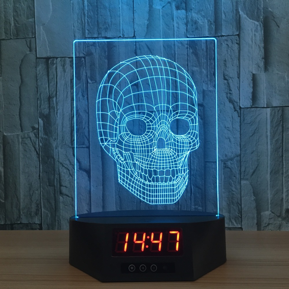 2017 nouveau produit crâne 3D calendrier veilleuse LED 7 couleur télécommande tactile interrupteur bureau lampe atmosphère lampe cadeau créatif