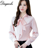 Dingaozlz 2018 Spring Bow Tie Collar Long Sleeved Shirt Solid Color Silk Shirt Shirt Women Occupation