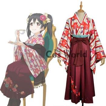 Love Live School Idol Project Yazawa Nico Flower Tops Kimono Yukata Dress Uniform Outfit  Anime Cosplay Costumes