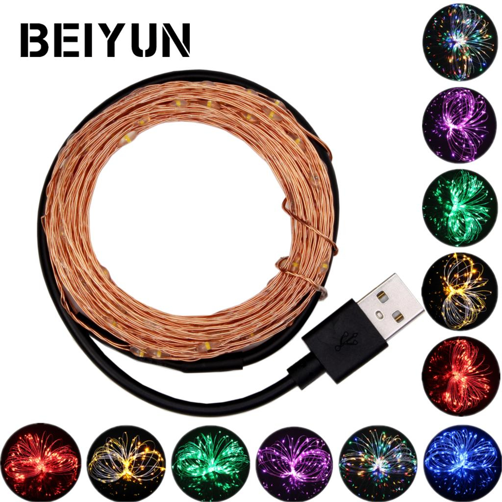 DC 5V 5M 10M USB charger LED strip light USB Powered RGB Copper Wire tape Holiday String lighting outdoor Fairy Christmas Tree
