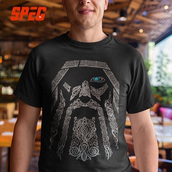 SPEG T Shirt Vikings Odin Men 100% Cotton Tees Short Sleeve Tops Father Gift O Neck Retro Adult T-Shirt O Neck Plus Size 5XL 6XL